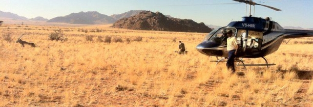 The Bell Jet-Ranger Helicopter used to deploy the satellite monitoring collars — at Namibrand Nature Reserve